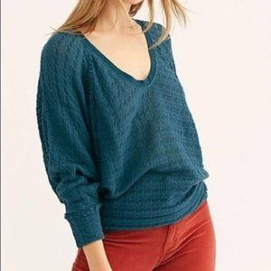 FREE PEOPLE Turquoise Thien's Hacci Top